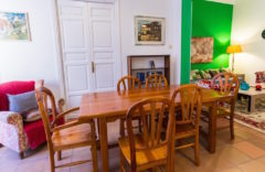 Dining area with big wooden table